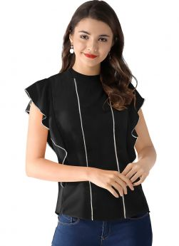 Black Butterfly Design American Crepe Collar Neck Top For Women