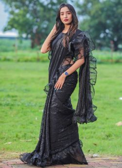 Black Sequence Embroidery Ruffle Saree