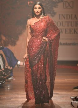 Blood Red Sequence Embroidery Saree