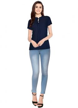 Blue Cap Sleeves American Crepe Collar Neck Top For Women