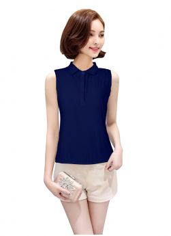 Blue Color Plain American Crepe Collar Neck Top For Girl