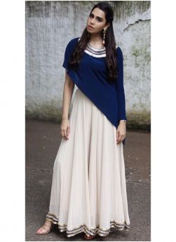 Blue Georgette And Naylon Silk Gown Style Dresses