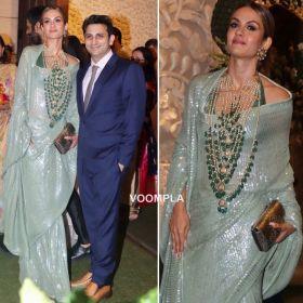 Bollywood Georgette Bamber Green Saree