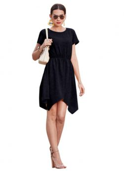 Cap Sleeve Us Polo (Imported) Black Western Dresses For Women