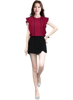 Casual Collar Neck Butterfly Sleeves Butterfly Design Maroon Womens Top