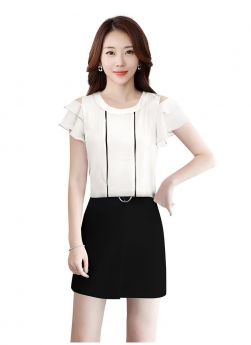 Casual Collar Neck Off Sholder Butterfly Sleeves American Crepe White Womens Top