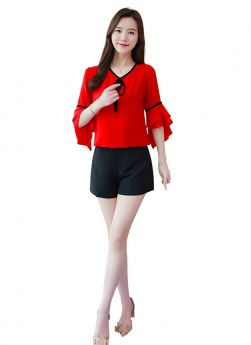 Casual V Neck Neck Bell Shape Plain Red Womens Top