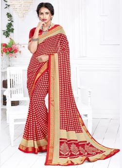 Casual Wear Red Georgette Saree