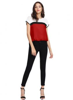 Causal American Crepe Short Sleeves Red Party Top For Girls
