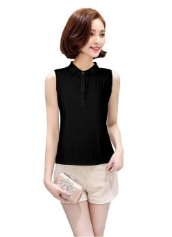 Causal American Crepe Sleeveless Black Color Party Top For Girls