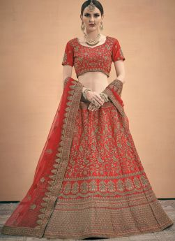 Coral Red Satin Beautiful Lehengas For Indian Bride