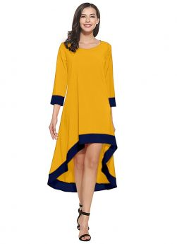 Crepe 3-4Th Sleeve Yellow Flare Up Down Dress