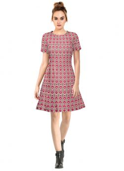 Crepe Round Neck Party Wear Short Dress In Pink Colour
