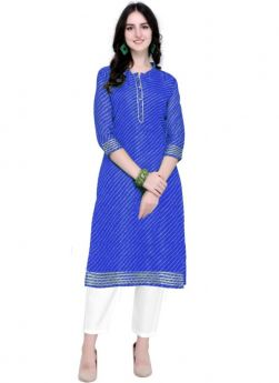 Doria Silk Blue New Arrival Indian Kurti