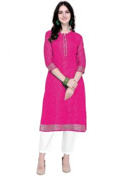 Doria Silk Pink Traditional Kurti