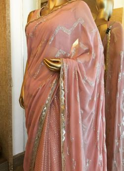 Dusty Pink Sequence Work Georgette Saree