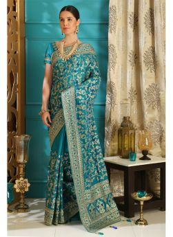 Embroidered Teal Wedding Saree Collection