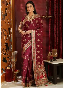 Embroidered Wine Wedding Saree Collection
