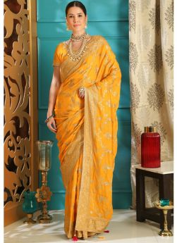 Embroidered Yellow Wedding Saree Collection