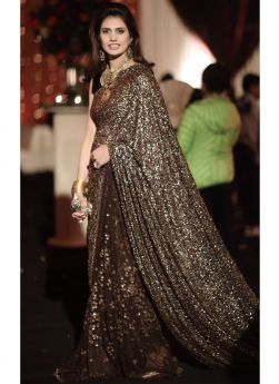 Exclusive Designer Sequence Brown Party Wear Saree