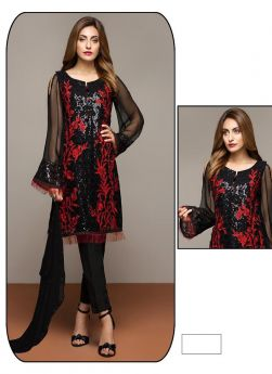 Georgette Red Party Wear Pakistani Suits