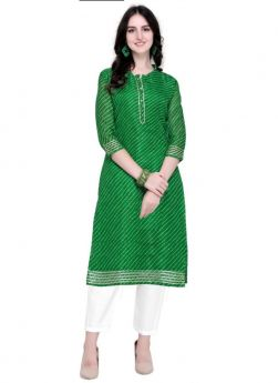 Green Doria Silk Casual Kurti For Womens