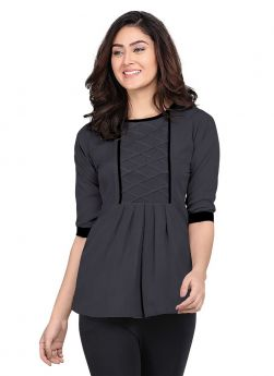 Grey Plain Rayon Round Neck Top For Women