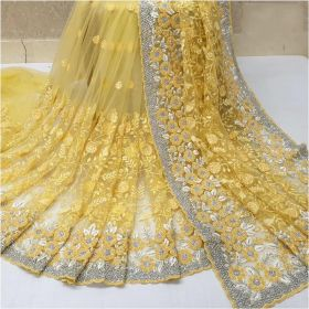 Heavy Naylon Net Yellow Color Latest Design Party Wear Saree