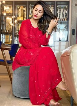 Hina Khan Red Chain Stitch Work Suit