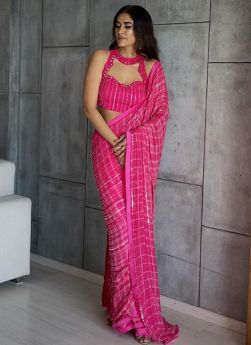 Hot Pink Sequence Embroidered Saree