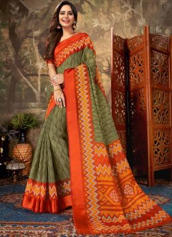 Indian Style Olive Green Cotton Saree