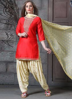 Jam Silk Cotton Red Traditional Patiala Suit