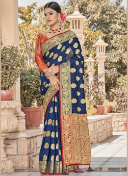 Latest Launched Navy Blue Silk Saree
