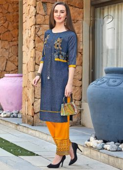 Latest Navy Rayon Two Tone Traditional Kurti For Womens