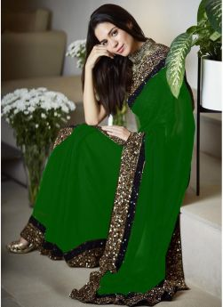 Latest New 60 Gm Georgette Green Sequence Work Lace Border Saree