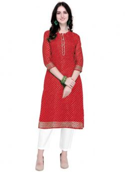 Latest Red Doria Silk Party Wear Kurti For Girl