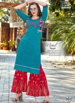 Latest Sky Blue Rayon Two Tone Indian Kurti For Girl