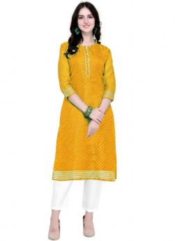 Latest Yellow Doria Silk Traditional Kurti For Womens