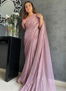 Lilac Color Sequence Embroidery Saree