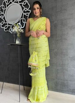 Lime Green Georgette Embroidery Saree