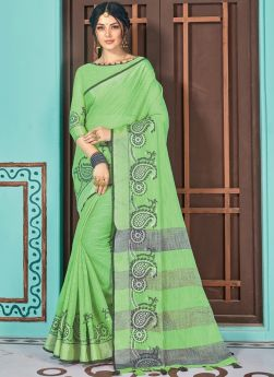 Linen Cotton In Green Color