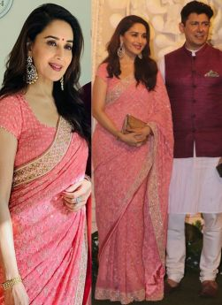 Madhuri Dixit Pink Bamberg Georgette Bollywood Saree