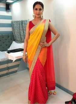 Madhuri Dixit Silky Georgette Net Multi Color Bollywood Saree