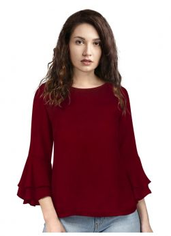 Maroon Bell Shape Rayon Round Neck Top For Women