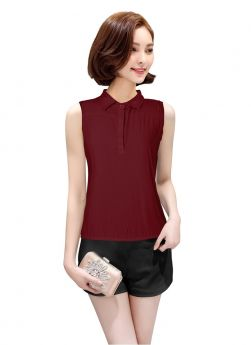 Maroon Color Plain American Crepe Collar Neck Top For Women