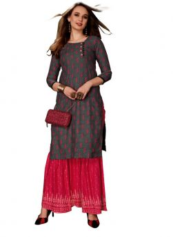 Multi Colour Rayon Party Wear Kurti For Girls
