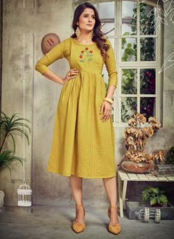 Musturd Color Frock Style Kurti