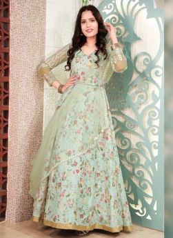 Olive Green Thread Embroidered Gown