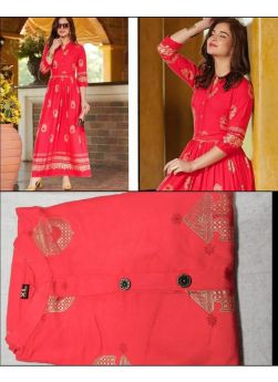 Rayon Red New Arrival Indian Kurti For Festival