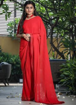Red Georgette Piping Work Saree